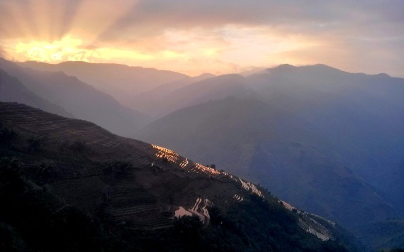 Sunset over the Hani terraced mountains