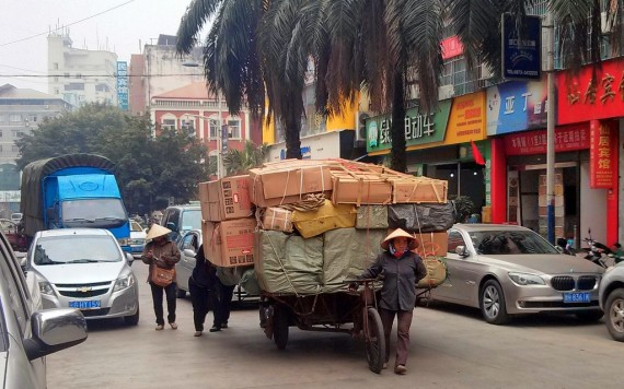 laden cart with Chinese goods for Vietnam