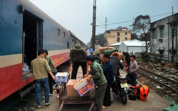 Boarding the train to Hanoi