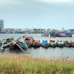 Family of boats at Da Nang harbour