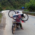 Loading a bike on a motorbike