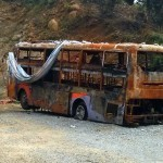 Burnt out bus - this is not a warning, just a real accident.