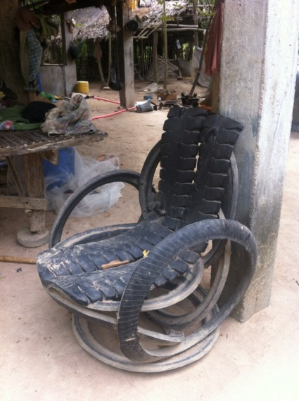 This chair is entirely made of car tyres