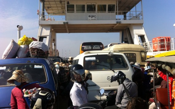 On the ferry. Many more vehicles would fit if they didn't let chaos reign.