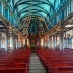 Inside the wooden church