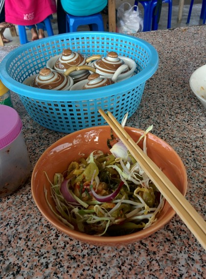 Breakfast. Tiny bowls of noodles, but they are cheap and taste great!