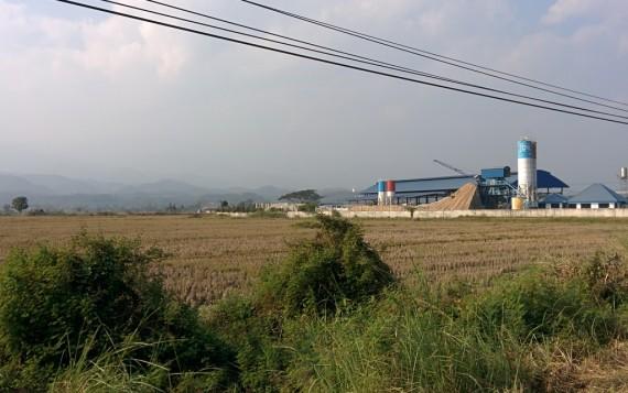 Farmland and hills appear