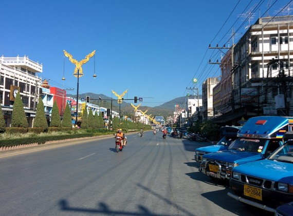 Mae Sai in the morning. Burma border gate in the distance.