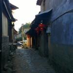 Through a narrow alley