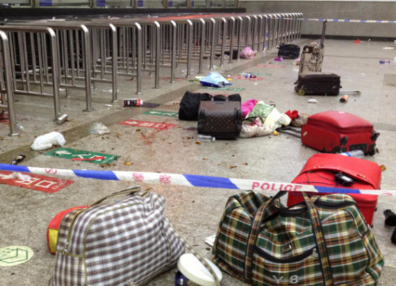 Police cordoning off the station after the killing (photo: Xinhuanet.com)
