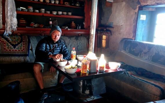 Pete enjoying breakfast in the inn's kitchen