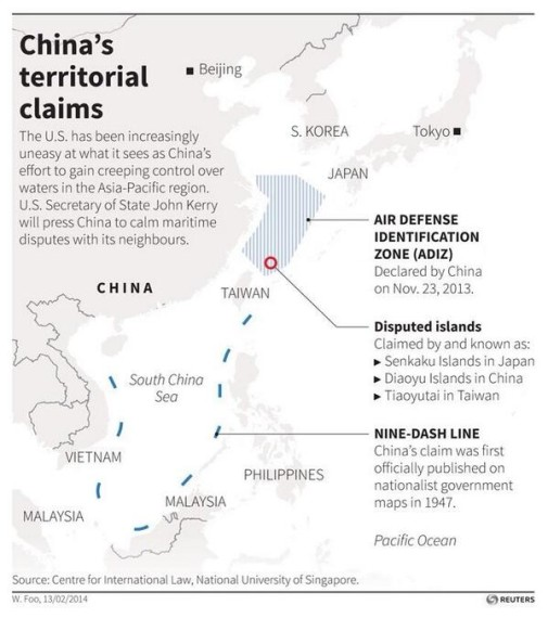 China's claims in the South China Sea. Source. Reuters